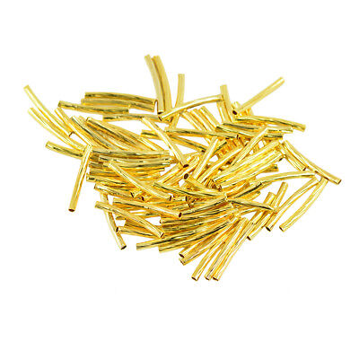 Lot Of 50 Curved Tube Gold Plated Elbow Noodle Spacer Loose Bead Jewelry DIY