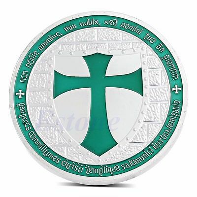 Knights Templar Crusader Cross Large Silver Plate and Enamel Coin