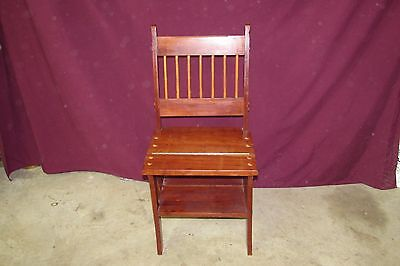Mahogany Mission Style Wooden Folding Step Stool Ladder Chair #4006