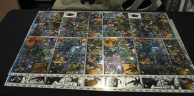 1995 Fleer Metal Batman Forever 2 Sheet Set Silver Uncut Preproduction Sheet Nm