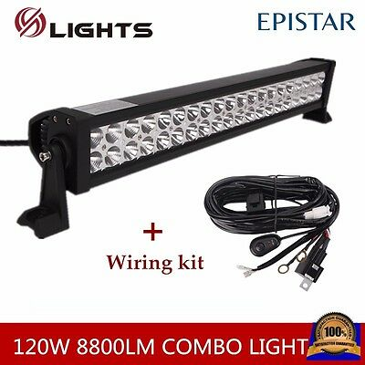 22Inch 120W Led Light Bar Flood Spot Off Road 4WD SUV JEEP Truck With WIRING KIT