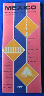 Vintage 1971 Tourist Road Map of Mexico, Cities & Nation, Very Nice