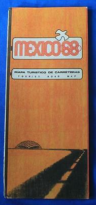 Vintage 1968 Tourist Road Map of Mexico, Olympics, City & Nation, Very Nice