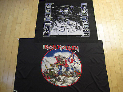 LOT!! two vtg IRON MAIDEN banner FLAG poster WALL ART trooper PAY TO PRAY eddie