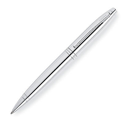 Cross AT0112-1 Calais Lustrous Chrome Ballpoint Pen Polished Chrome and 1 Refill