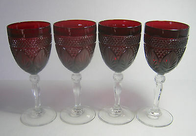 4 Ruby Red Durand Arco Rock Crystal D'Arques Wine or Water Goblets
