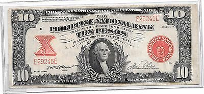 1937 Usa/philippines Pick #58 10 Peso Note Xf Scarce #2