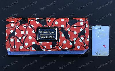 DISNEY / LOUNGEFLY Wallet MINNIE MOUSE BOWS Zipper NWT