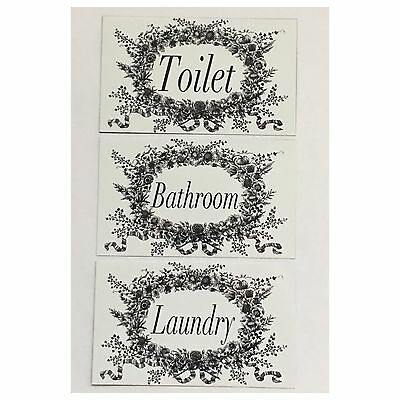 Room Laundry Bathroom Toilet Floral Sign Tin Door Vintage Wall Plaque Country Lg