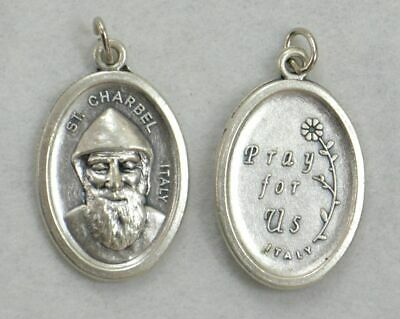 SAINT CHARBEL Medal Pendant, SILVER TONE, 22 x 15mm, MADE IN ITALY
