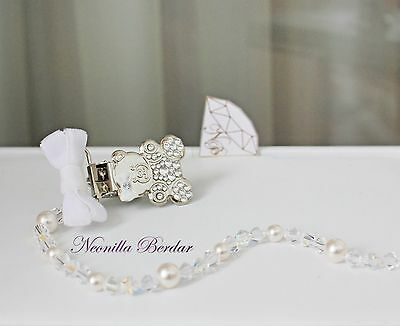 Clear Pacifier clip made with Swarovski Crystals, Beads and Pearls. Teddy Bear