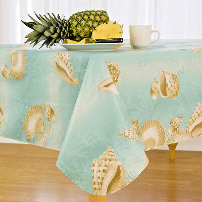 Sea Shell Border  Flannel Back Vinyl Tablecloths - Assorted Sizes Obl/Oval & Rd.