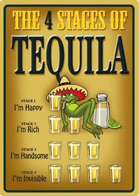 Tequila - 4 Stages Tin Sign 20 x 30cm Retro Decor Wall Art Cafe Bar Kitchen