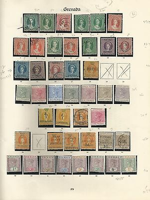 Grenada QV-GV Collection on 4 Imperial pages. Cat £3000+, chalons, high values