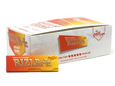 Rizla Regular Orange Rolling Papers *NOT LIQUORICE* (60Sheets*50Booklets =3000)