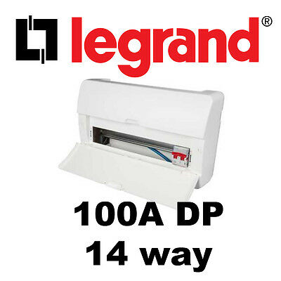 14 WAY INSULATED FUSE BOX WITH 100A DP MAIN SWITCH CONSUMER UNIT Legrand