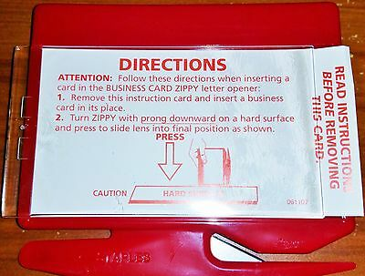 5-Red Heavy duty letter opener add your business card or family picture.