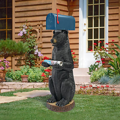 Design Toscano Postal Bear Sleeve Statue Post Mounted Mailbox