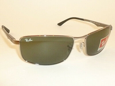 891c4be1a897 New RAY BAN Sunglasses Gunmetal Frame RB 3498 004 71 Green Lenses 64mm