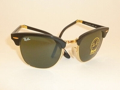 b7a167eff27 New RAY BAN Sunglasses Folding Clubmaster Black Frame RB 2176 901 G-15  Lenses