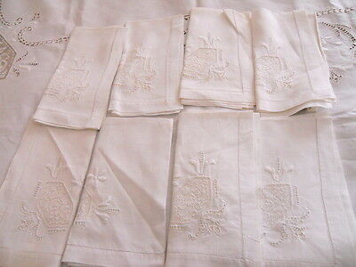 Vintage Linen Needle Lace Tablecloth 8  Napkins