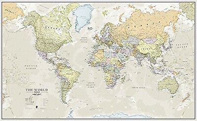 Huge Classic World Map Laminated Encapsulated Wallpaper Giant Large Wall Print