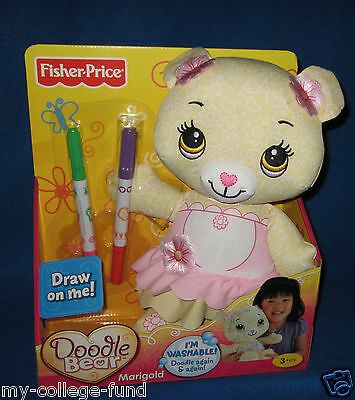 Fisher Price Doodle Bear Yellow Marigold With Markers New