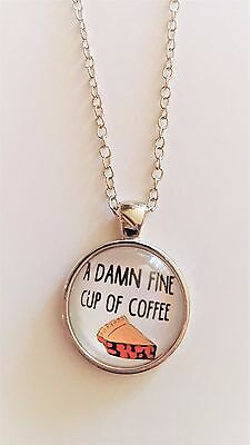"""Twin Peaks """"Double R Diner"""" Logo Glass Domed Silver Chain Necklace/Pendant"""