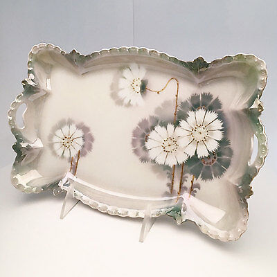 Victorian Era Porcelain Vanity Tray Asian Inspired Hand Decorated Luster Moriage