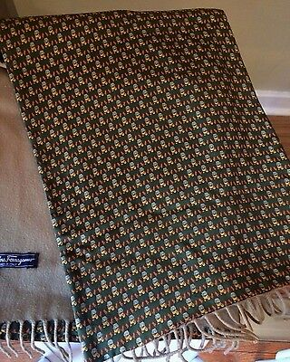 Men' Salvatore Ferragamo Beige Cashmere and Green Lion Print Silk Scarf