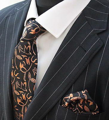 Tie Neck tie with Handkerchief Black with burnished copper floral