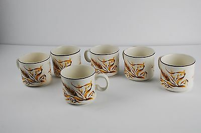 Set of 6 Vintage Doverstone Wheat Stoneware Mug Cup Made in England