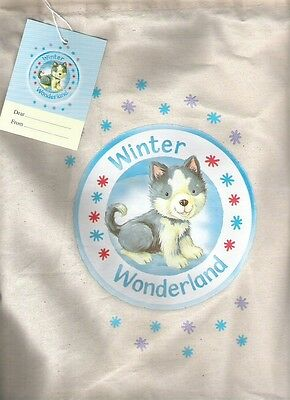 WINTER WONDERLAND Canvas Book Bag + label Childrens Storage Collectable Unused