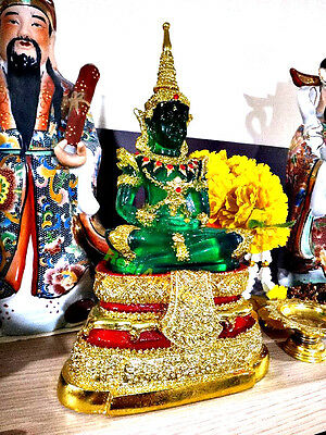 9034 Thai Emerald Buddha Statue Meditation Amulet Green Red Gold Armor New 27 Cm
