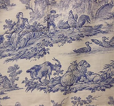ANTIQUE  FRENCH COUNTRY FIGURAL BLUE TOILE DE JOUY  FABRIC UNUSED 31 x 93 #3