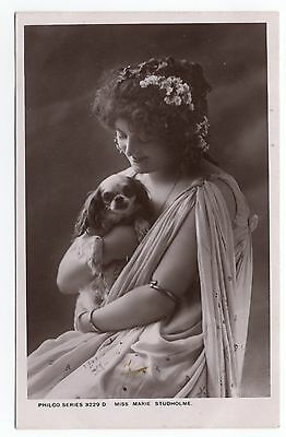 Actress Marie Studholme And Cavalier King Charles Spaniel Old Dog Photo Postcard