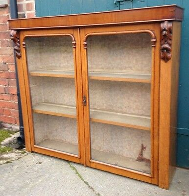 Antique Victorian Dresser Top Golden Oak Glazed Display Cabinet Or Bookcase