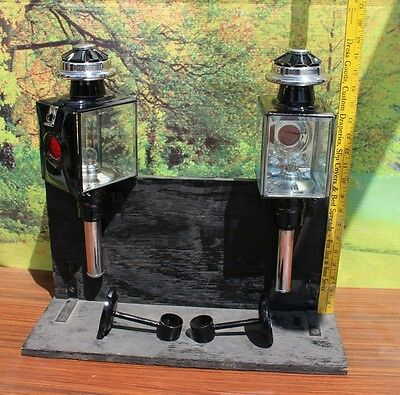 Pair of new horse drawn 12 volt carriage lamps stainless trim full size SQUARE