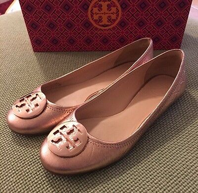 3daa5ece0a0 TORY BURCH RARE Rose Gold Reva Flats Sz 8 w  Box Retail  250 SOLD ...