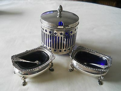 BIRKS 925 Sterling cobalt blue liners Salt Pepper Cellars w/ Spoons Mustard Pot