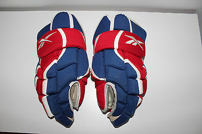 """MONTREAL CANADIENS Reebok Red White Blue HOCKEY GLOVES ** ADULT size 15"""" / L@@K"""