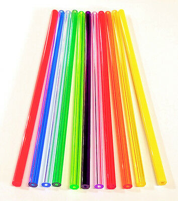 "11 DIFFERENT COLORS 3/8"" OD x 1/8"" ID CLEAR ACRYLIC TUBES RED BLUE GREEN ORANGE"