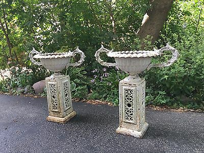 Estate Worthy Rare Antique Pair of Cast Iron Planters on Original Pedestals