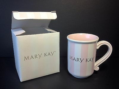 Mary Kay Collectible Pink & White Striped Consultant Ceramic Coffee Tea Cup Mug