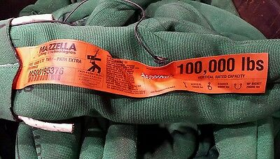 50 Ton x 70' Twin Path polyester lifting sling by Sling Max with fiber optics