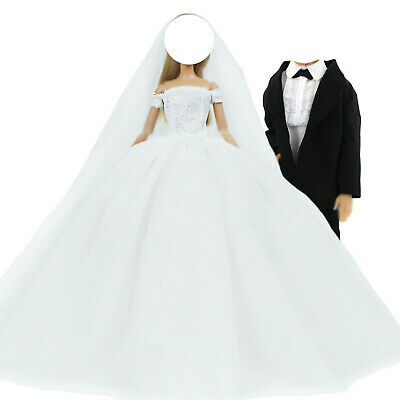 Wedding Gown Dress Veil + Groom Suits Tuxedo Outfit Clothes For Barbie Ken Doll