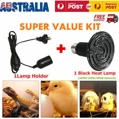 Reptile Chicken Incubator Infrared Ceramic Heat Emitter Lamp Bulb with Holder