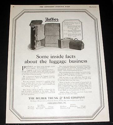 1919 Old Magazine Print Ad, Belber Traveling Goods, Inside Facts About Luggage!