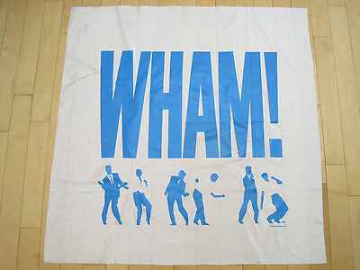NOS 1984 vtg WHAM! banner FLAG tapestry POSTER music ROCK art 80s george michael