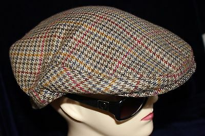 GENUINE vintage mens ENG TWEED wool driving flat cap hat beret BARBOUR sz 7 1/2